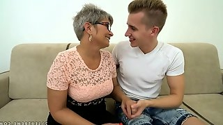 Young dude fucks nasty granny Jessye and sprays cum all over her face