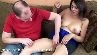 Lucky guy finally talked a horny MILF into screwing with him