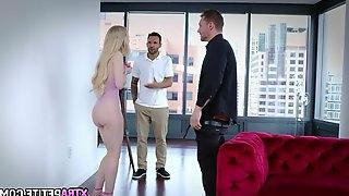 Petite blonde caught cheating by boyfriend