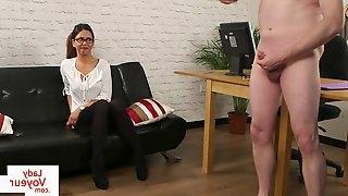 CFNM British voyeur enjoys JOI at audition