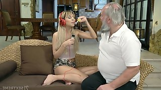 Lustful step granddaughter Sarah Cute gives a blowjob and gets her pussy nailed