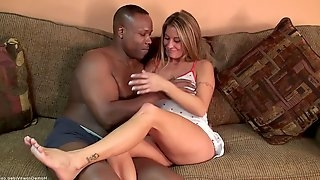Big tit blonde Leeanna Heart is craving a big black cock to stretch her tiny holes