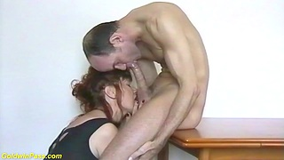 Big tit redhead nylon mom helping to suck my own up to big cock and gets stupendous facial cum shower