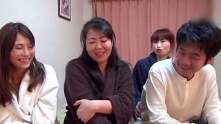 Three horny Japanese chicks sharing a friend's delectable dick