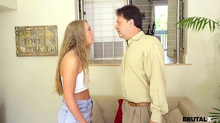 Spoiled stepdaughter is face fucked by strict and angry stepdad