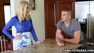 Nathan Bronson is craving for hot stepmom dildo fucking her pussy