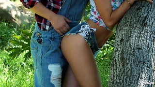 Nympho Adria Rae seduces one stranger guy and they shot sexual congress in the forest