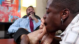 Nasty socks with an increment of feet licking between two dudes prevalent the office