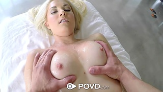 Petite blonde Henley Hart enjoys a full making massage added to obese pussy pounding