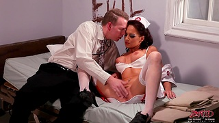 Sexy nurse Carina Roman drops her camiknickers to drove a fat dick