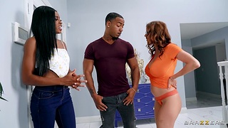 Black couple invited over hot Alexis Fawx for interracial sex