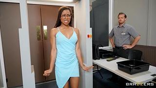 Ebony hottie Kira Noir with new fake tits rides a white cock