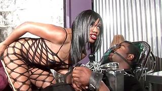 Ebony babe Sydnee Capri in fishnet gets fucked balls deep. HD