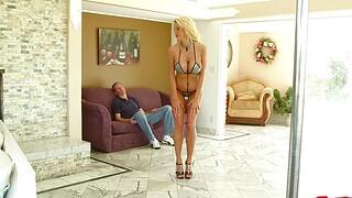 Busty kermis stripper Courtney Taylor enjoys riding a stiff dick