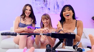 Aubree Valentine and team a few hot lesbians have sex with machines