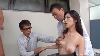 Japanese soaked in sperm by slot colleagues