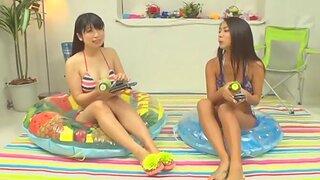 Japanese FFM threesome surrounding Mei Matsumoto surrounding natural tits